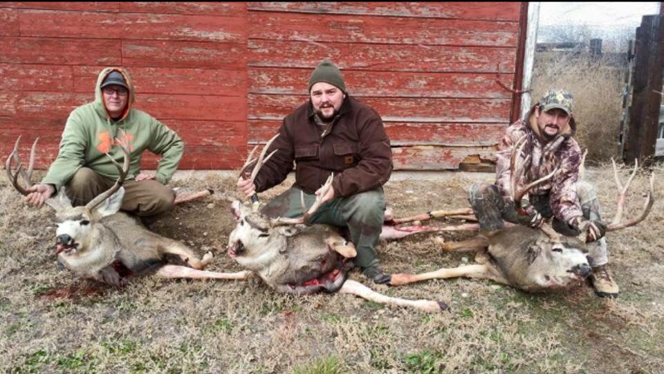 Aaron Patton and friends with their 2015 bucks.